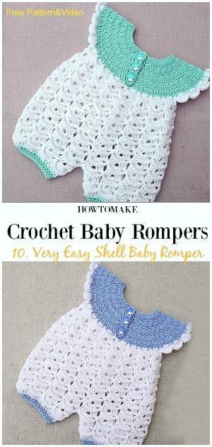 Very Easy Shell Baby Romper Free Crochet Pattern&Video – Baby #Romper #Crochet P…