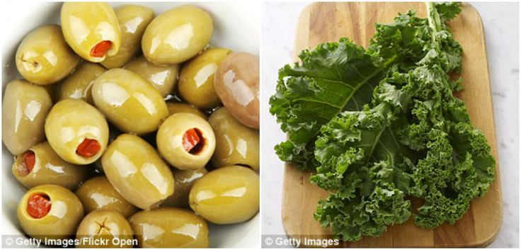 Azeitonas, azeite de oliva, cebola, couve, salsa, groselhas, sopa de missô, tofu e outros produtos de soja, alcaparras, cacau e chá verde são alguns dos alimentos que trazem esses benefícios.
