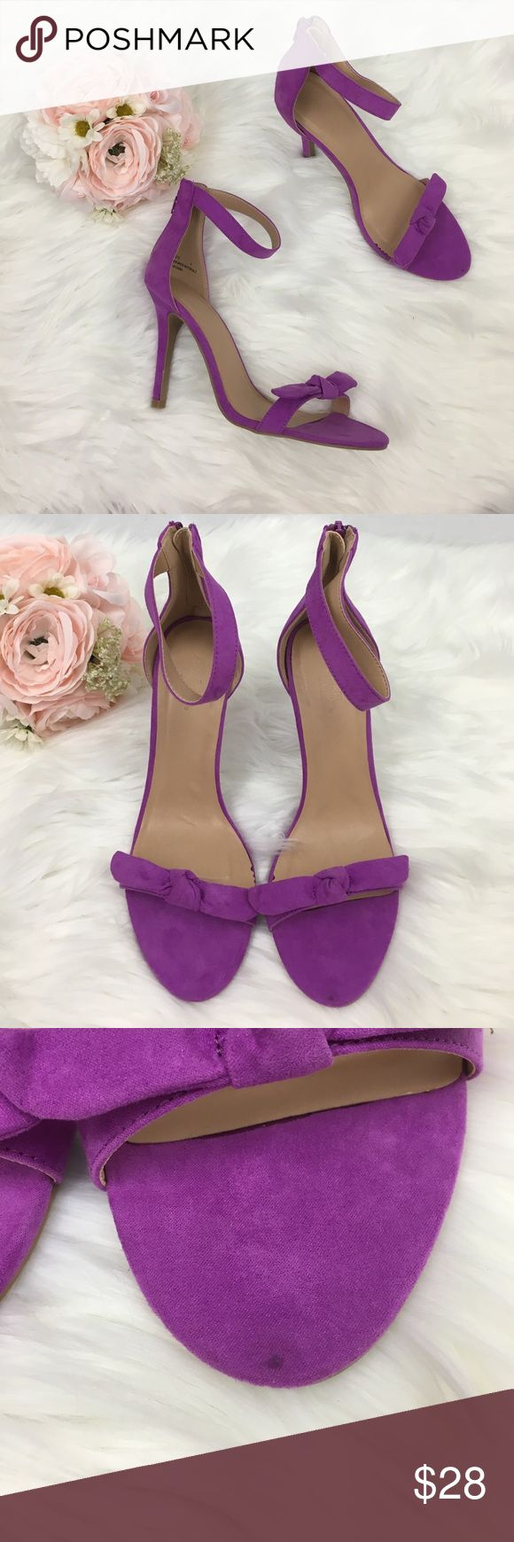 """NWOB Purple Heel BRAND NEW WITHOUT BOX AND NEVER WORN! Has small mark; shown in third photo. Bow style on front and back zipper with strapy ankle style. Heel measures 4"""". No tears or stains. Cannot model due to size. No trades and no holds. Charlotte Russe Shoes Heels"""