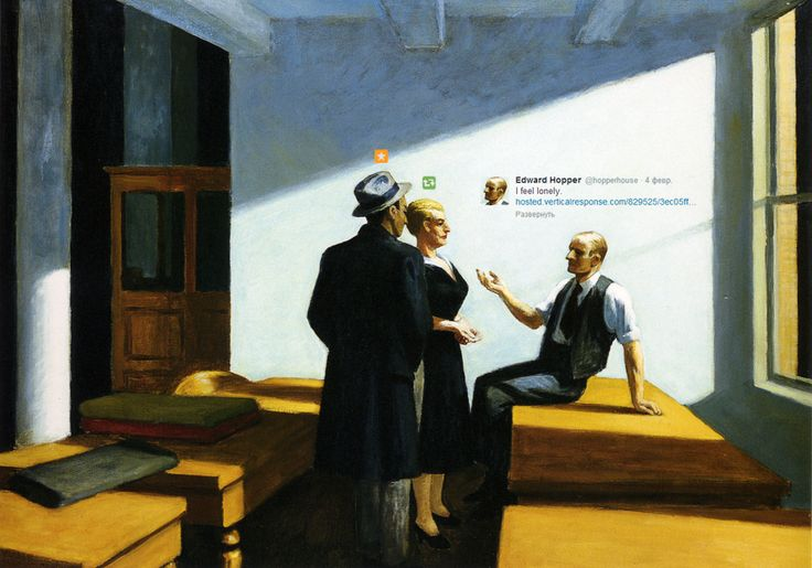 modern day relationships totally affected by social media, even when people are meeting in person. juxtaposition of classical/traditional technique, painting with tweet added above man's head