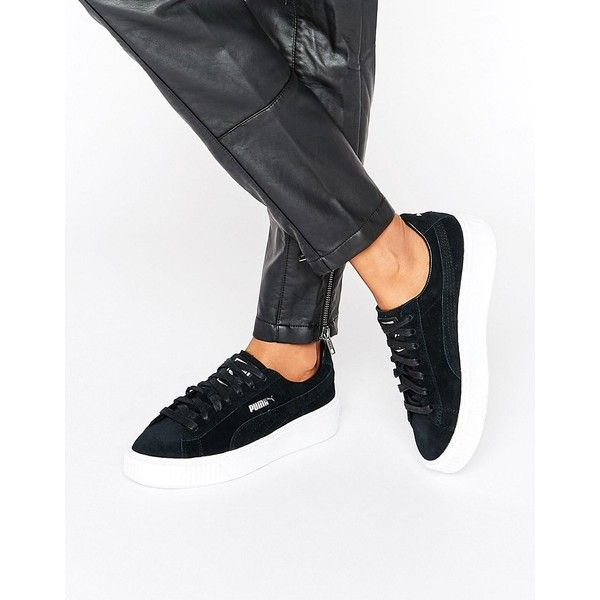 Puma Classic Suede Platform Sneakers In Black ($121) ❤ liked on Polyvore featuring shoes, sneakers, black, black sneakers, flatform sneakers, black suede shoes, puma trainers and chunky platform shoes