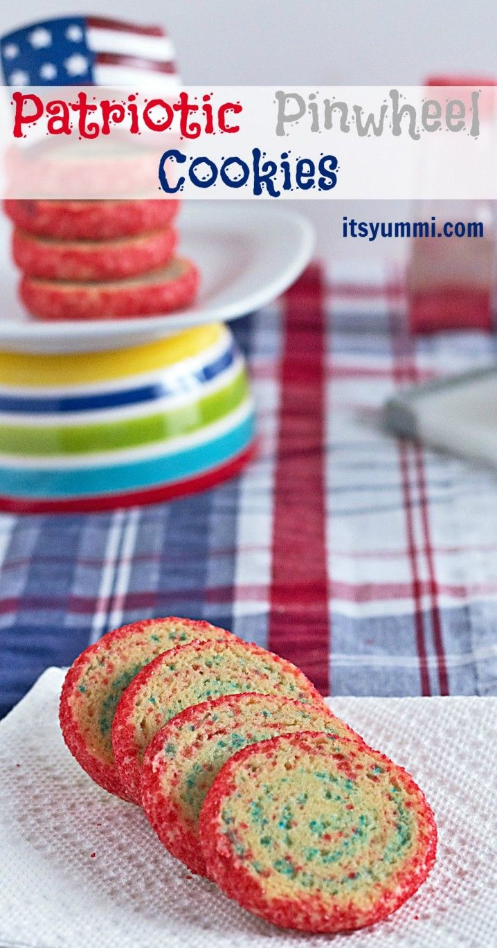 SUPER easy recipe that's fun for kids to help with! Patriotic Pinwheel Cookies - It's Yummi!