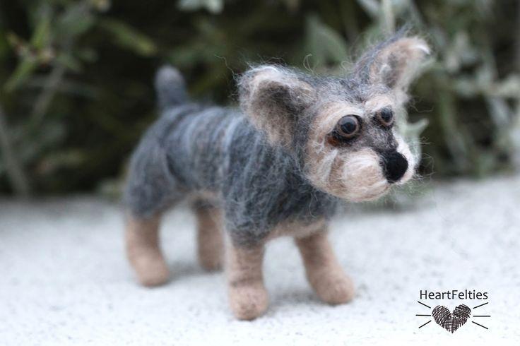 Needle felt Australian Terrier dog HeartFelties