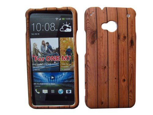 HTC ONE M7 M-7 VERIZON WOOD DESIGN RUBBERIZED HARD COVER CASE SNAP ON