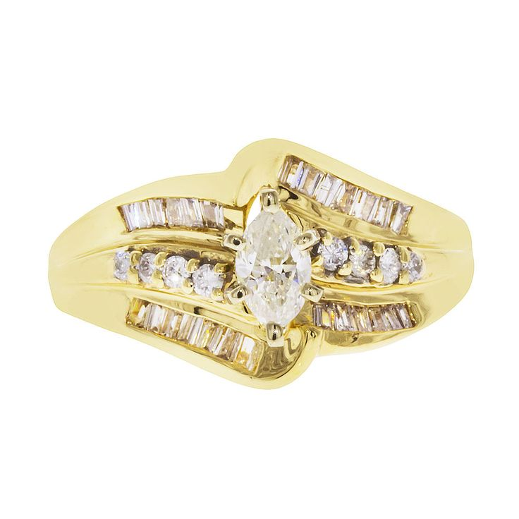 14k Yellow Gold Marquise Cut Diamond Engagement Ring  1.00ct TDW  Size 8 #SolitairewithAccents