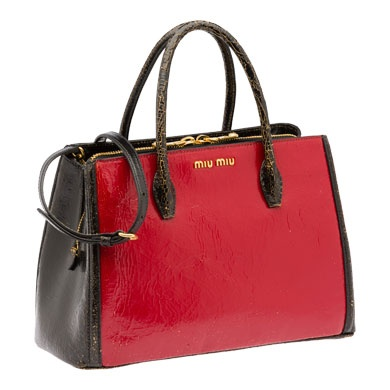 Craquelé bag from the Miu Miu Spring/Summer 2013 collection-black and red