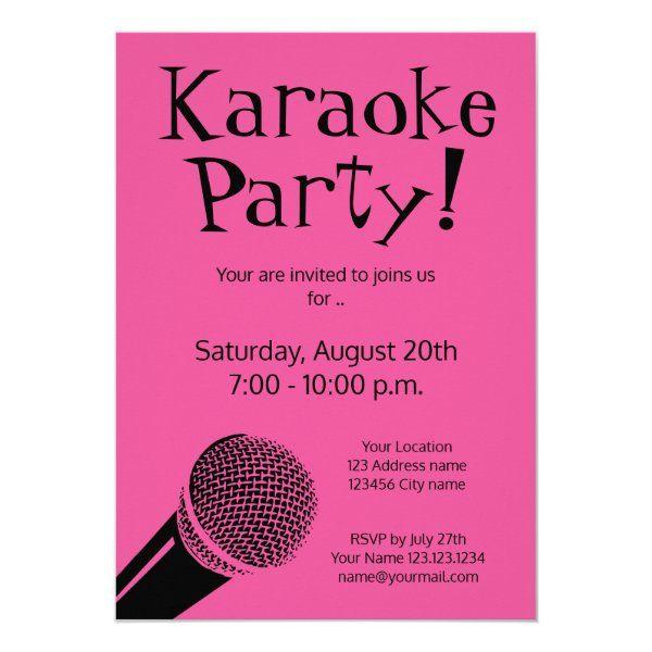 Custom Karaoke Party Invitations With Microphone Zazzle Com In 2021 Karaoke Party Party Invitations Party Invite Template