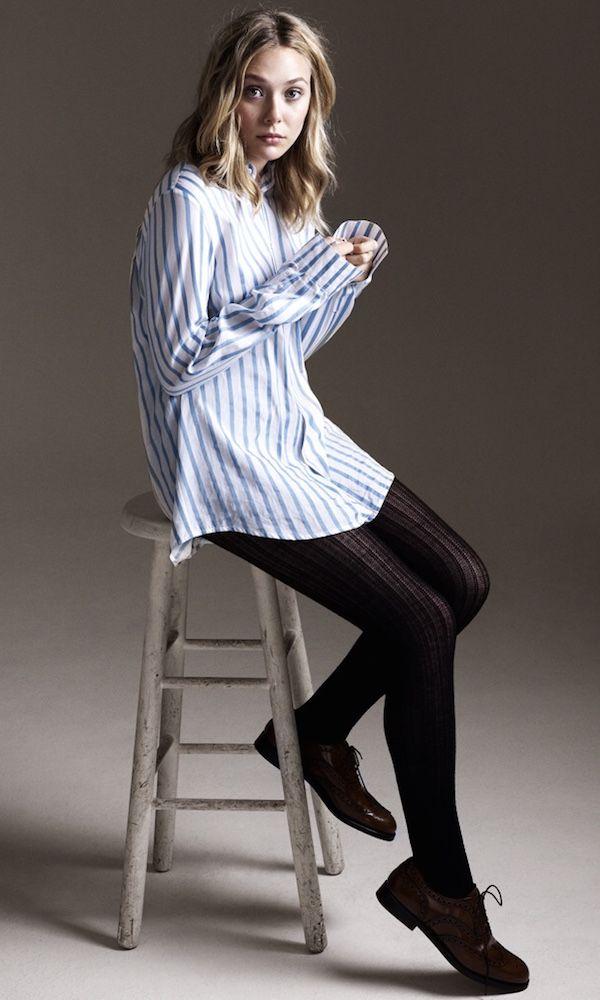 Get Elizabeth Olsen's menswear-inspired look for fall. #style #fashion #lizzieolsen