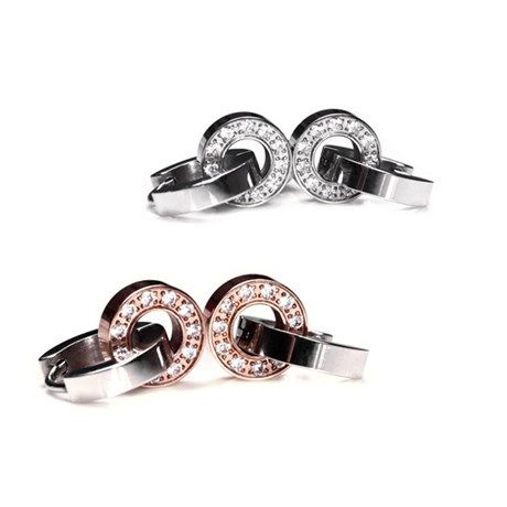 Eleganta örhängen av rostfritt stål, roséguld och ...