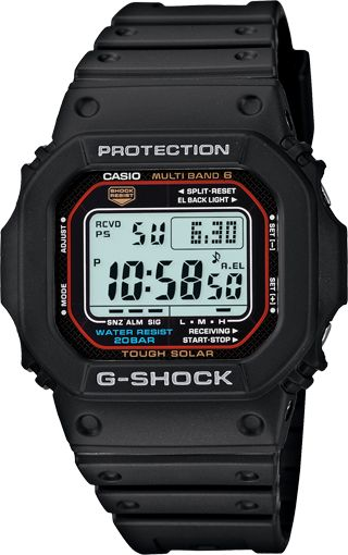 "G-Shock Classic GWM5610-1 $140 http://www.gshock.com/watches/Classic/GWM5610-1 New ""daily use"" watch for Jason. It is rugged, takes a beating, is solar powered and can set its own time."