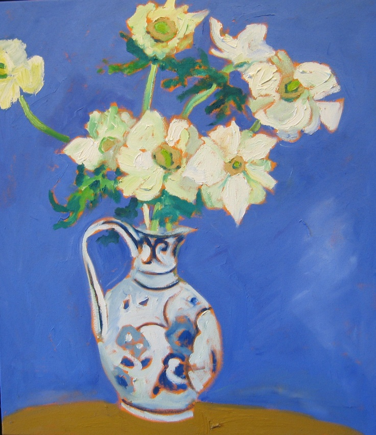 "Artist: Christopher Broadhurst (b.1953)  'White Anemones"", 2009  Oil on Canvas  30 x 26 inches"