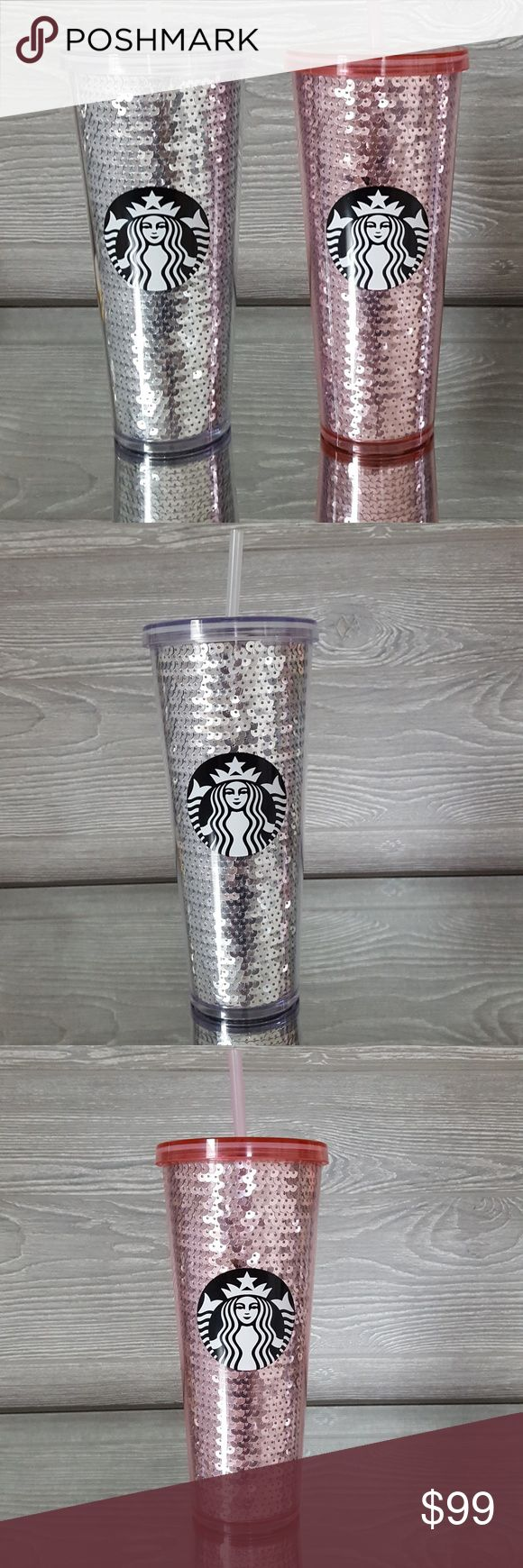2 Starbucks Holiday Sequin Tumblers Pink Silver Limited Edition Holiday 2017 Sequin bling glam tumbler cup 24 oz. New with tags Price Firm! Starbucks Other