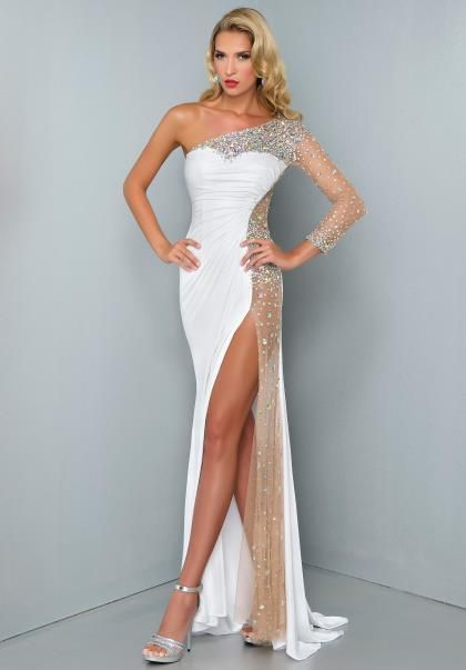 2014 Sexy Women Evening Gowns With Slit Chiffon Long Sleeve Beaded Crystal White Prom Dresses Long Floor Length