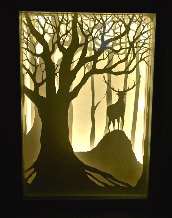 Deer paper cut light box by ElaSabit