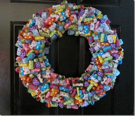 """Happy, cheery and fresh! A ribbon wreath puts a smile on your guest's faces!     I used an 18"""" straw wreath and left the plastic wrapping o..."""