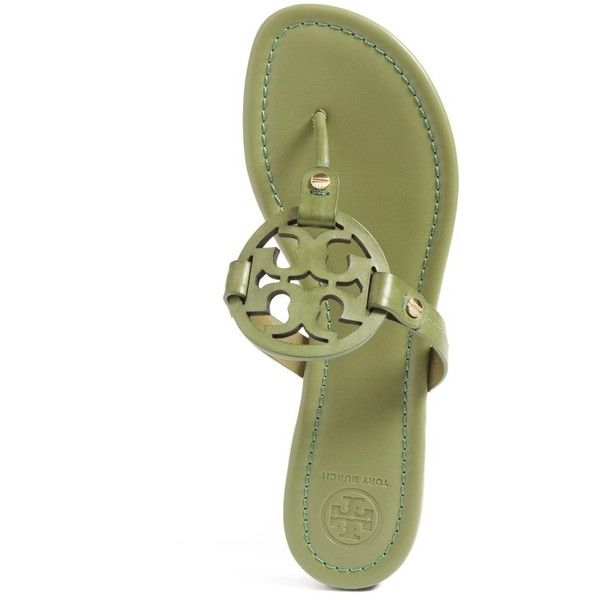 Tory Burch 'Miller' Flip Flop (Women) ❤ liked on Polyvore featuring shoes, sandals, flip flops, tory burch footwear, long sandals, cutout shoes, cut out shoes and tory burch flip flops