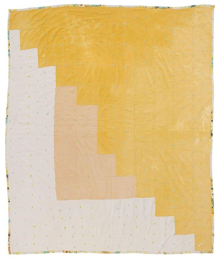 "Linda Pettway, born 1929. ""Logcabin"" — single-block variation, tied with yarn, ca. 1975, corduroy"