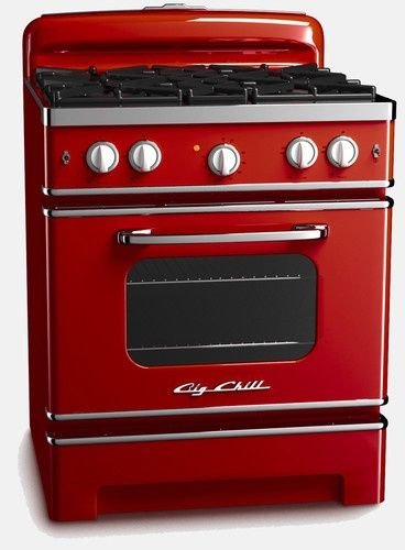 Big Chill Retro Stove, Cherry Red traditional major kitchen appliances