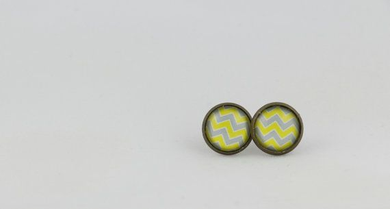 ZigZag Stripe Stud Earrings - 12mm Stud Earrings - Striped Earrings - Yellow and Silver Earrings - Glass Cabochon Earrings - Gifts for Her by BestFiveCentCoffee