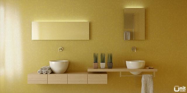 Yellow bathroom 01 by Unit-Studio, via Flickr