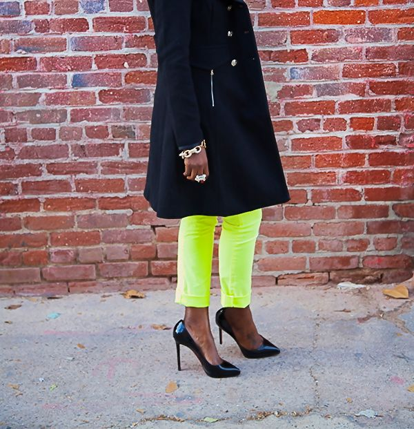 Style Pantry   Double Breasted Coat + Peplum Blouse + Neon Jeans