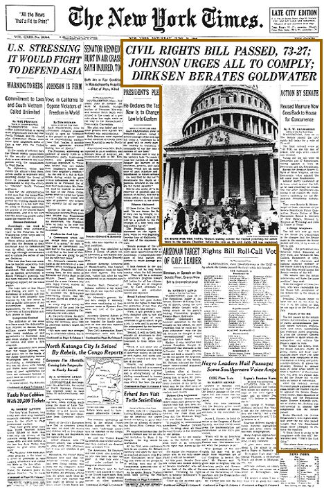 On June 19, 1964 the US Senate passed the Civil Rights Bill by a vote of 73-27 after 54 working days of filibuster since it was introduced in March. This was the first time the Senate had invoked cloture since 1927. President Lyndon B. Johnson signed the bill two weeks later on July 2, 1964. #TodayInBlackHistory