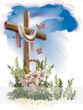 This well-designed Easter Cross Resurrection Cross shows that the sacrificial death of Jesus results in resurrection life. With blue clouds and rays of sunshine, flowers and butterflies, this image represents forgiveness of sins, a call to repentance and an opportunity to be birthed in the Kingdom of God.    Read an article on the Resurrection in our Spread the Word Guide:  Easter Sunday -  The Resurrection and The Words of Jesus