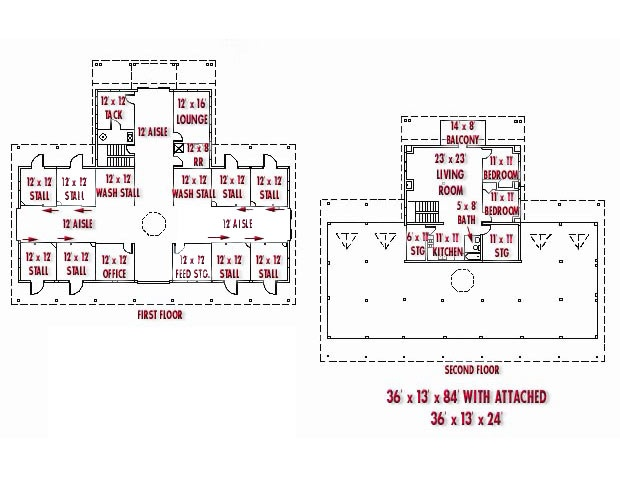 Good Barn Plan With Living Quarters On The Second Floor