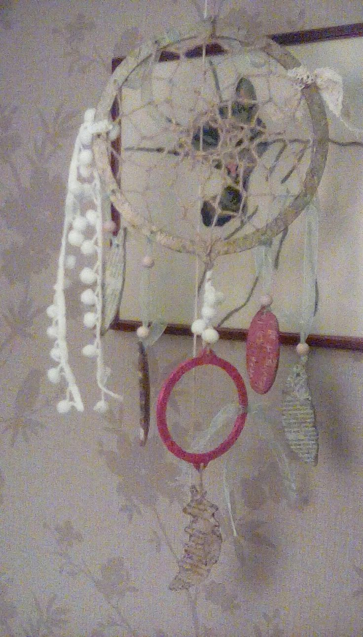 Dream catcher made from a kit  from The Works. I covered the  ply in tissue paper and the feathers in newspaper.