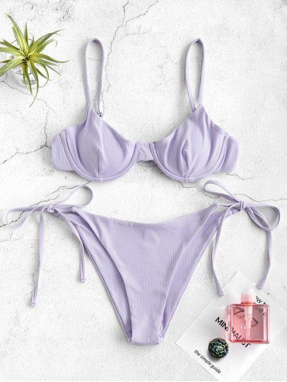 ZAFUL Ribbed Underwire Bikini Set – Lavender Blue S