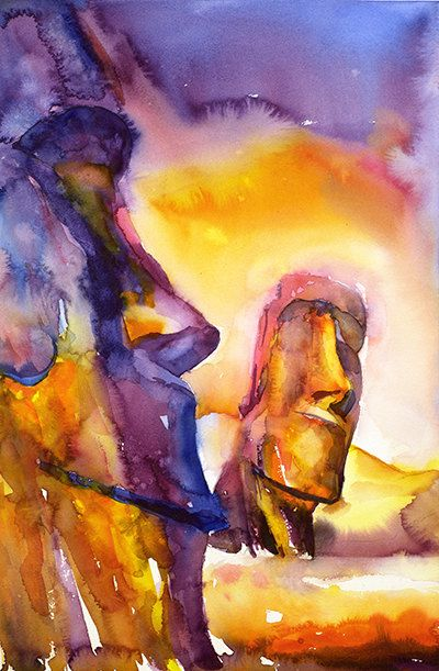 Moai of Easter Island watercolor painting