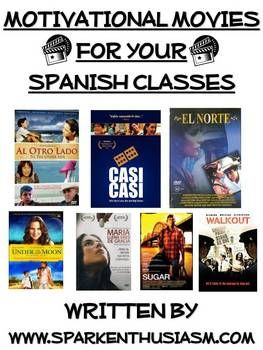 This 50 page motivational movie packet is an excellent teaching tool for middle school and high school Spanish Teachers! This packet includes general materials that can be used with any Spanish movies as well as materials specific to seven popular and culturally rich Spanish movies.  Misma Luna, Al Otro Lado, Casi Casi, Sugar, Walkout, Maria Full of Grace, and El Norte