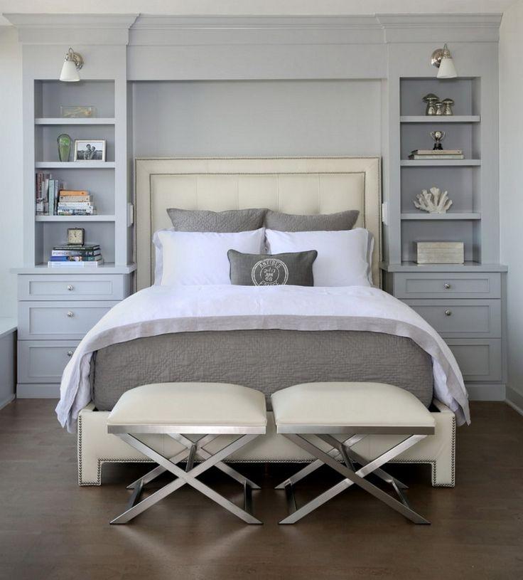 Спальня в  цветах:   Голубой, Светло-серый, Серый, Черный.  Спальня в  стиле:   минимализм.