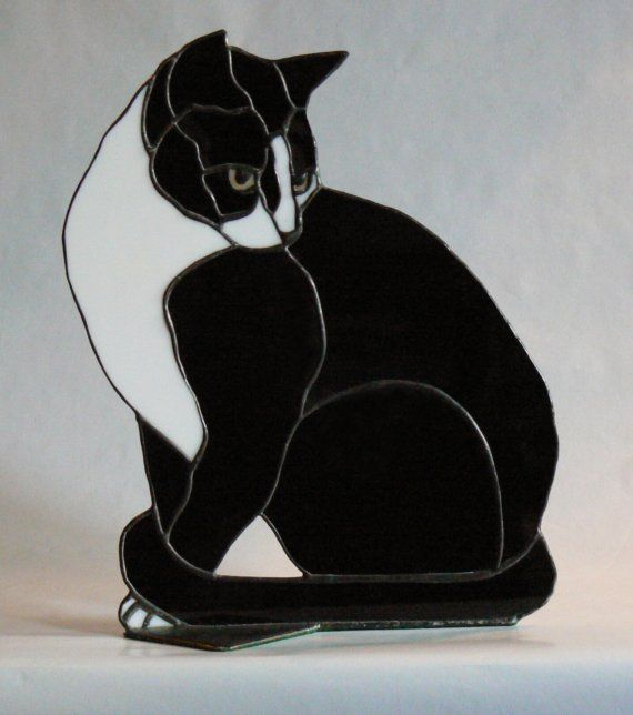 Butch  Stained Glass Black and White Cat by jbls on Etsy, $110.00