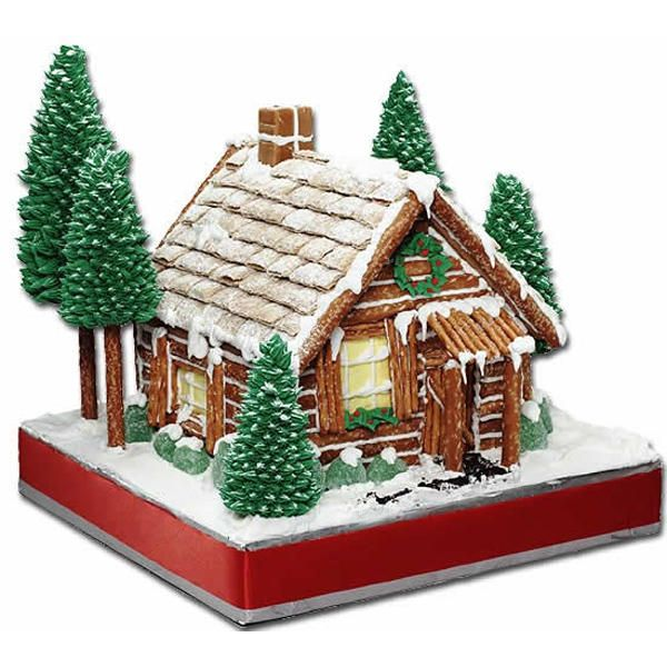 Rustic log cabin gingerbread house.  Using pretzels and similar.  The trees are made stacking icecream cones to make large or small trees.  A log cabin house would be yummy made with flake chocolate logs!