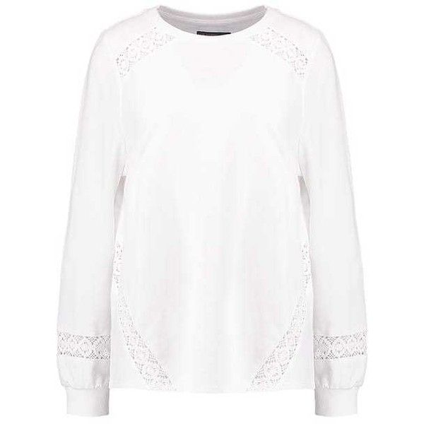 Sweatshirt offwhite ZALANDO (790 UYU) via Polyvore featuring tops, hoodies, sweatshirts, off white top, off white sweatshirt y champagne top