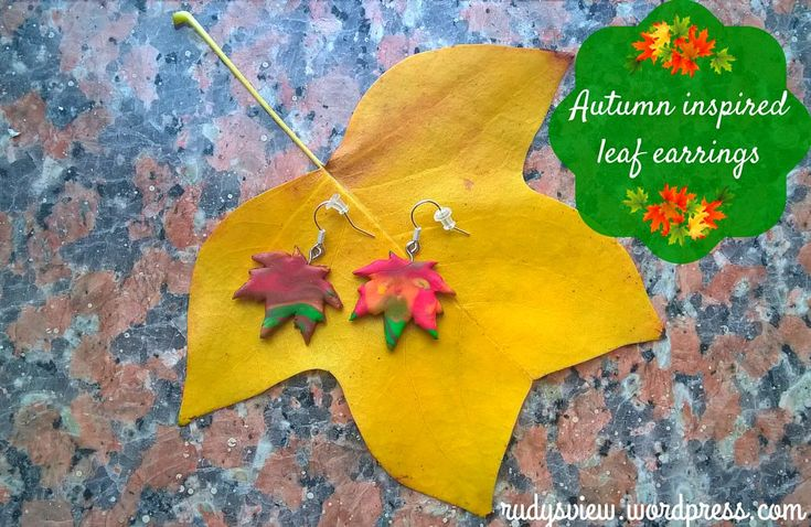 Leaf earrings made from polymer clay (fimo)