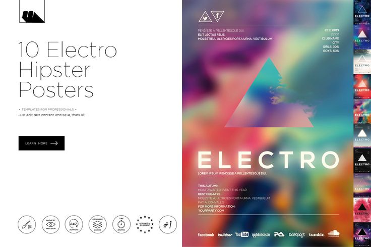 Electro Hipster Party Posters