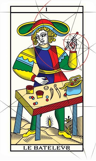 Le Bateleur y la espiral de Fibonacci. - Edición Millenium del Tarot de Marsella. http://www.tarot-de-marseille-millennium.com/                                                                                                                                                                                 Mais