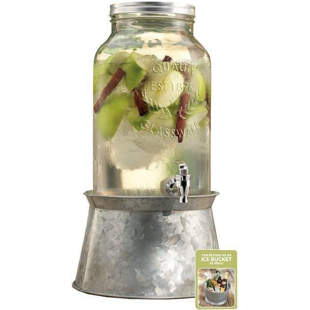 Palais Glassware Mason Jar Beverage Dispenser - Traditional Tin Screw Off Lid -1.5 Gallon Capacity With