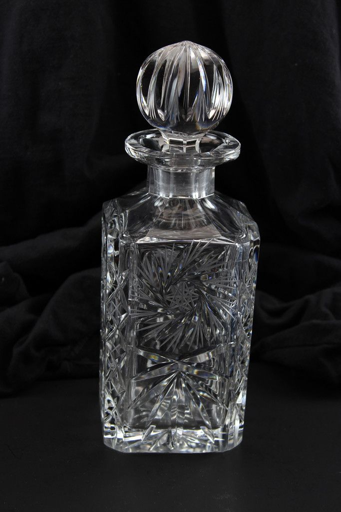 Crystal Decanter Czech Bohemia Pinwheel Beautiful