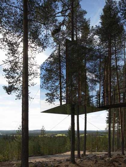 tree hotel + mirror facade