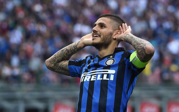 Download wallpapers Mauro Icardi, Argentine footballer, 4k, Internazionale FC, portrait, Italy, Serie A, football