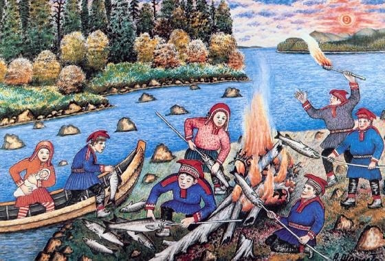 This is a painting of Andreas Alarieston Lapinkuvat - a Sami painter who described in his unique art the way of Sami life in the north of Finland, like Salmon broiling in summer.