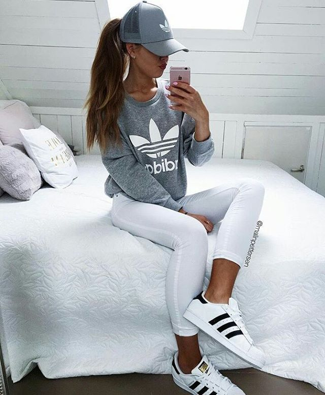 Fashion - White Jeans, Grey adidas Sweater/Jacket, White Originals Superstar, Grey Hat/Cap, High Pony WOMEN'S ATHLETIC & FASHION SNEAKERS amzn.to/2kR9jl3