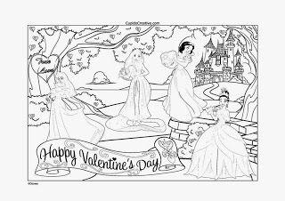 kerajinan anak, mewarnai disney princess menyambut valentine