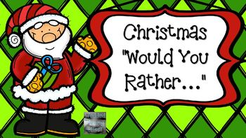 """This Christmas themed """"Would You Rather"""" includes 10 different slides of questions. These could be used as brain break or they could also be used as a math graphing activity. To use them as a brain break, simply start the slideshow and ask kids to either call out their answers, move to the left or right side of the room that corresponds to their answer, or raise their left or right hand."""