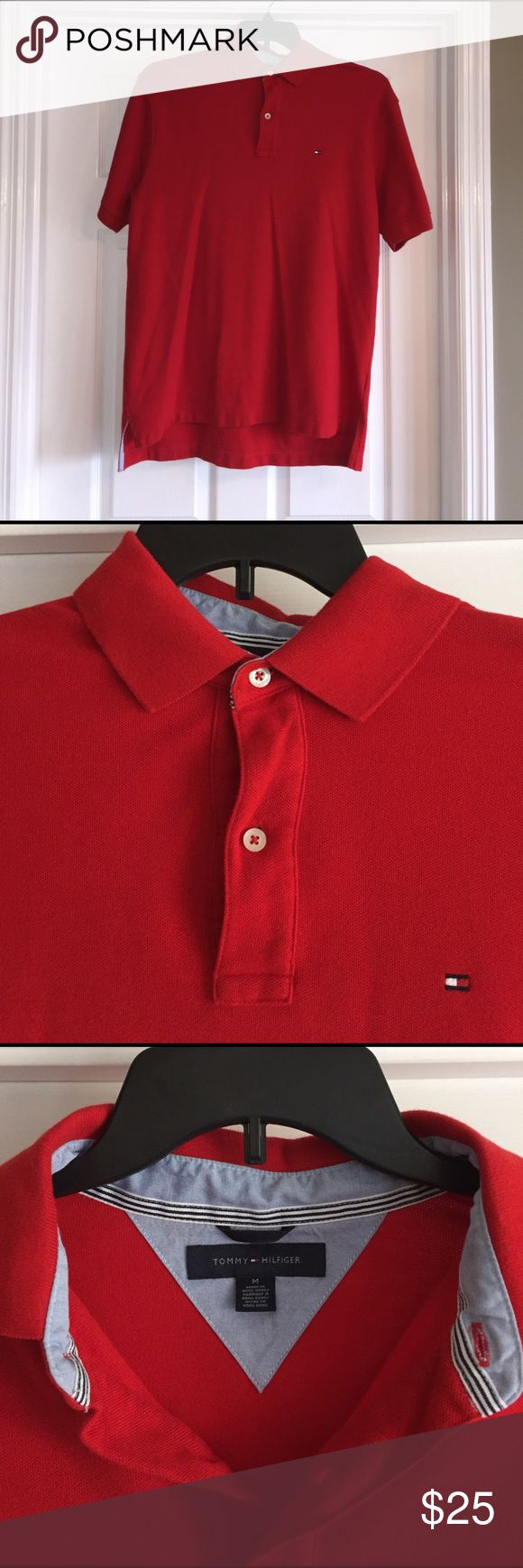 Tommy Hilfiger Polo Shirt Beautiful bright red Men's Tommy Hilfiger Polo Shirt. 2 button, size Medium, NWOT, Tommy Hilfiger Shirts Polos