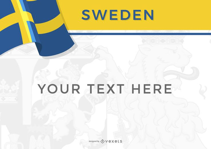 Template for a Sweden design you can use on posters, banners and more. It shows the country's flag, name and plenty of space for text.