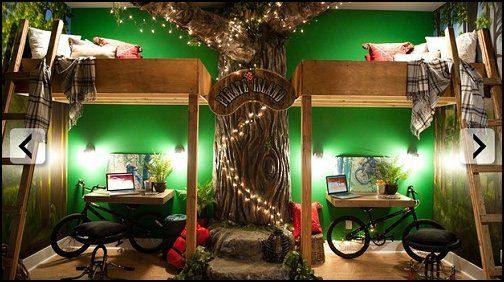 Another nifty room idea, LOVE the tree and lofting for kids. Awesome.
